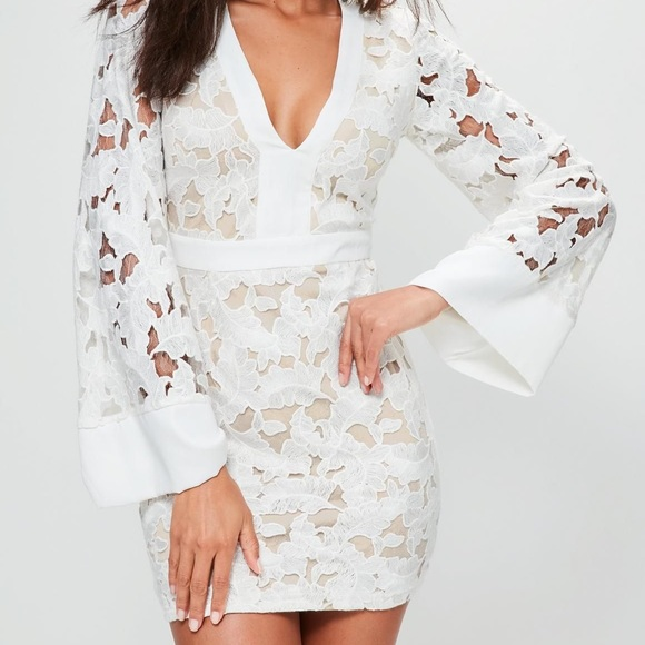 8285777fa7443 Missguided Dresses | Dress White Lace Mini Bell Sleeve | Poshmark